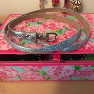Silver Glitter belt Ann Taylor